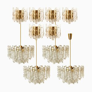 Ice Glass Scones & Chandeliers by J.T. Kalmar, 1960s, Set of 10