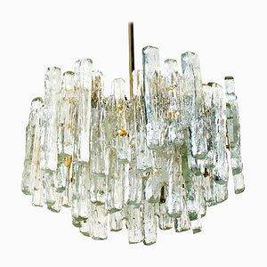 Großer Moderner Dreistufiger Eisglas Kronleuchter von Kalmar Lighting, 1970er