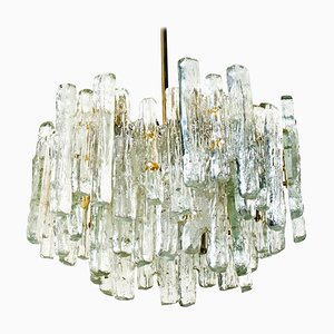 Large Modern Three-Tiered Ice Glass Chandelier by Kalmar Lighting, 1970s