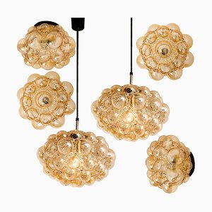 Amber Bubble Glass Pendant Lamps by Helena Tynell, 1960s, Set of 6