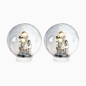 Große mundgeblasene Bubble Glas Tischlampen von Doria Leuchten Germany, 1970er, 2er Set