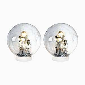 Large Hand Blown Bubble Glass Table Lamps by Doria Leuchten Germany, 1970s, Set of 2