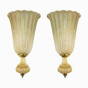 Large Wall Lights by Barovier & Toso, 1960s, Set of 2