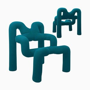 Norwegian Petrol Blue Armchairs by Terje Ekstrom, 1980s, Set of 2