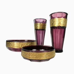 Antique Art Nouveau Amethyst Set by Moser Glassworks, Set of 4