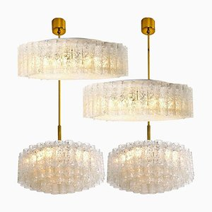 Glass Brass Light Fixtures by Doria Leuchten Germany, 1960s, Set of 4