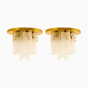 Brass and Glass Flushmounts by J.T. Kalmar, 1960s, Set of 2