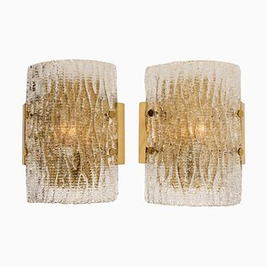 Structured Ice Glass Wall Sconces by J.T. Kalmar, 1960s, Set of 2