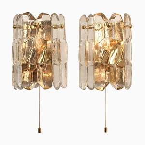 Gilt Brass and Glass Palazzo Wall Light Fixtures, 1970s, Set of 2