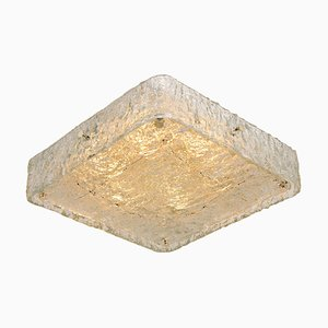 Square Textured Glass Flush Mount Ceiling Lamp by J.T Kalmar, 1960s