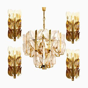 Crystal Glass Florida Chandelier & Sconces by J.T. Kalmar, 1960s, Set of 5