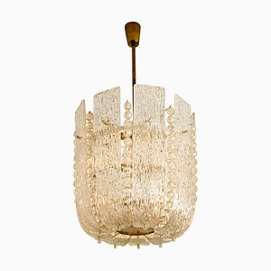 Austrian Glass and Brass Basket Chandelier by J.T. Kalmar, 1960s