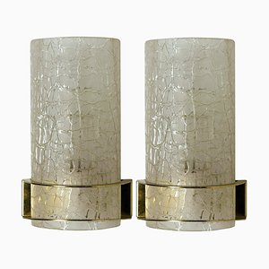 Crackle Glass Wall Lights by Hillebrand, 1960s, Set of 2