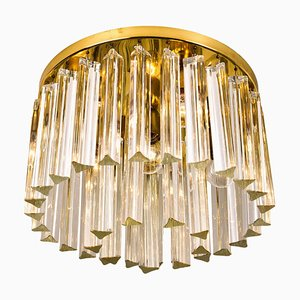 Two-Tier Murano Glass Flush Mount with Venini Triedri Crystals, 1968