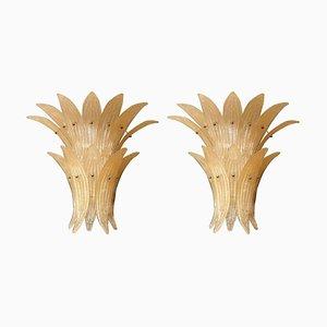 Beige Mid-Century Ananas Wandlampen aus Muranoglas von Paolo Venini für Venini, 1970er, 2er Set