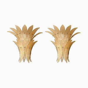 Mid-Century Beige Murano Glass Pineapple Sconces by Paolo Venini for Venini, 1970s, Set of 2