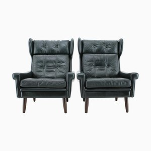 Danish Dark Green Leather Wing Lounge Chairs by Svend Skipper, 1960s, Set of 2