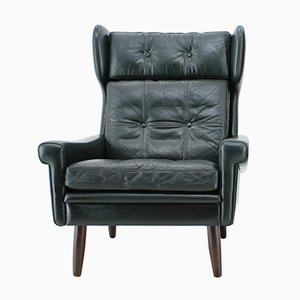 Danish Dark Green Leather Wing Lounge Chair by Svend Skipper, 1960s