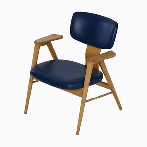 Birch and Blue Leather FB 14 Armchair by Cees Braakman for Pastoe, 1960s
