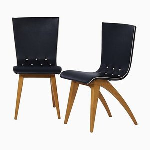 Dutch Bent Maple Dining Chairs from Van Os Culemborg, 1950s, Set of 2