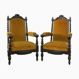 19th Century Louis XIII Style French Throne Chairs, Set of 2