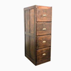 Vintage Dark Oak Archive Cabinet
