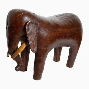 Dark Brown Leather Elephant Footstool by Dimitri Omersa for Abercrombie & Fitch, 1960s