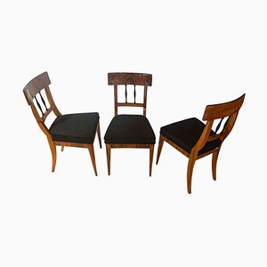 German Biedermeier Walnut Veneer & Velvet Side Chairs, 1820s, Set of 3