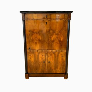 German Biedermeier One-Doored Walnut Veneer Armoire, 1820s