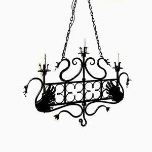 Italienische Vintage Deckenlampen aus Schmiedeeisen, 2er Set