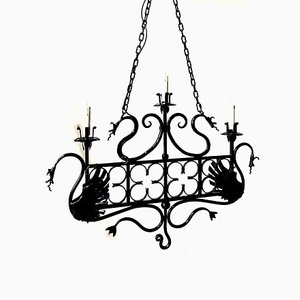 Vintage Italian Wrought Iron Ceiling Lamps, Set of 2