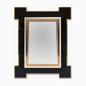 Lacquered Brass Mirror by Alain Delon for Maison Jansen, 1970s
