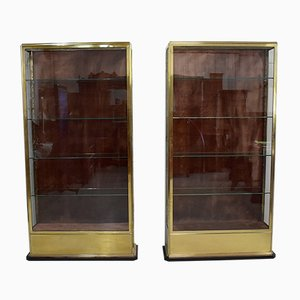 Glass and Brass Display Cabinets, 1930s, Set of 2