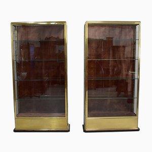 Vetrine in ottone e vetro, anni '30, set di 2