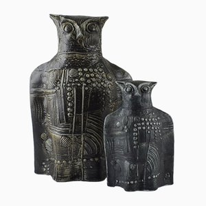 Hiboux Vintage en Céramique par Bertil Vallien pour Rörstrand, Set de 2