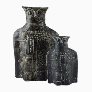 Vintage Keramik Eulen von Bertil Vallien für Rörstrand, 2er Set