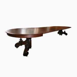 Großer antiker ausziehbarer ovaler ovaler Esstisch aus Eiche