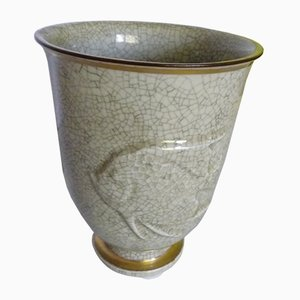 Craquelé Fish Design Vase from Royal Copenhagen, 1940s