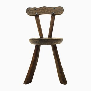 Mid-Century Handgeschnitzter Beistellstuhl aus Holz, 1950er