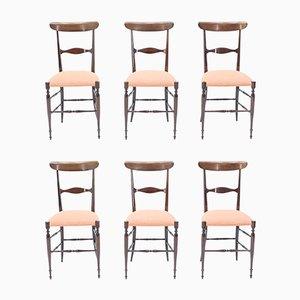 Nussholz Esszimmerstühle von Fratelli Levaggi für Campanino Chiavari, 1950er, 6er Set
