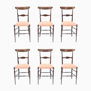 Walnut Dining Chairs by Fratelli Levaggi for Campanino Chiavari, 1950s, Set of 6