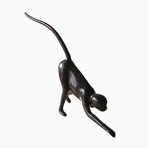 Patinated Brass Monkey Sculpture, 1980s