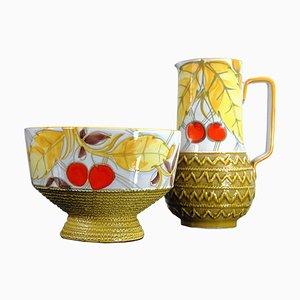 Pichet et Bol en Céramique de Fratelli Fanciullacci, Italie, 1960s