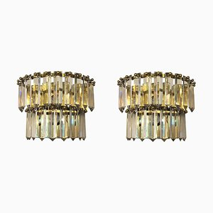 Mid-Century French Crystal, Brass, and Chrome Sconces, 1970s, Set of 2