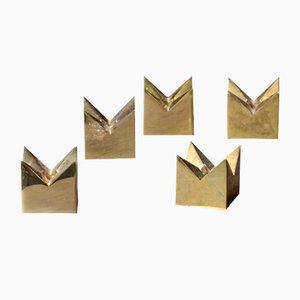 Swedish Brass Candle Holders by Pierre Forsell for Skultuna, 1960s, Set of 5