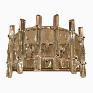 Mid-Century French Half Moon Shaped Cut Crystal and Chrome Sconces, 1970s, Set of 2