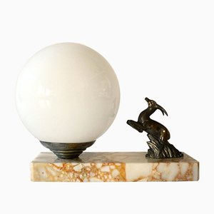 Art Deco Opaline Glass Globe and Metal Table Lamp