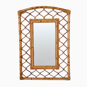 Large French Decorative Bamboo Mirror, 1970s