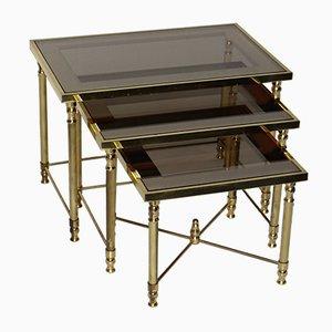 Tables Gigognes Dorées de Maison Jansen, 1950s, Set de 3