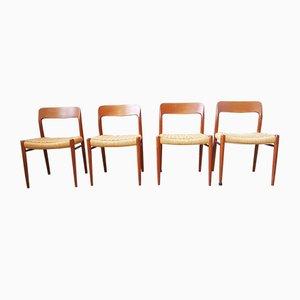 Danish Teak Model 75 Dining Chairs by Niels Otto Møller for J.L. Møllers, 1960s, Set of 4